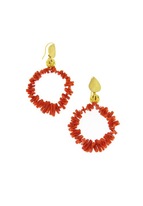 Orecchini pendenti in corallo naturale rosso - Argento 925 dorato