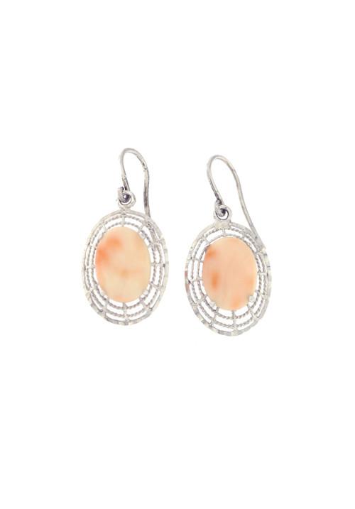 Orecchini in argento pendenti con corallo rosa