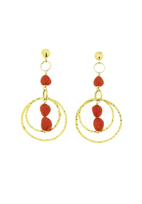 Orecchini corallo rosso sassi e oro 18 kt