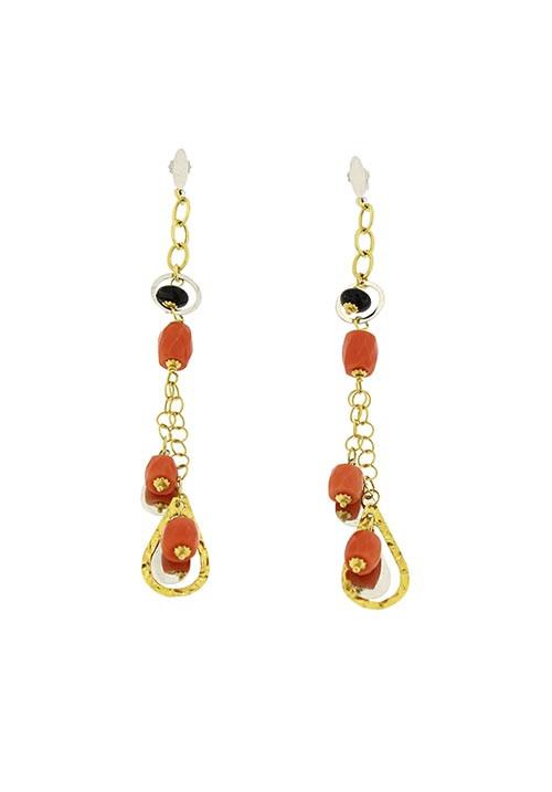 Orecchini corallo rosso e onice in oro 18 kt pendenti