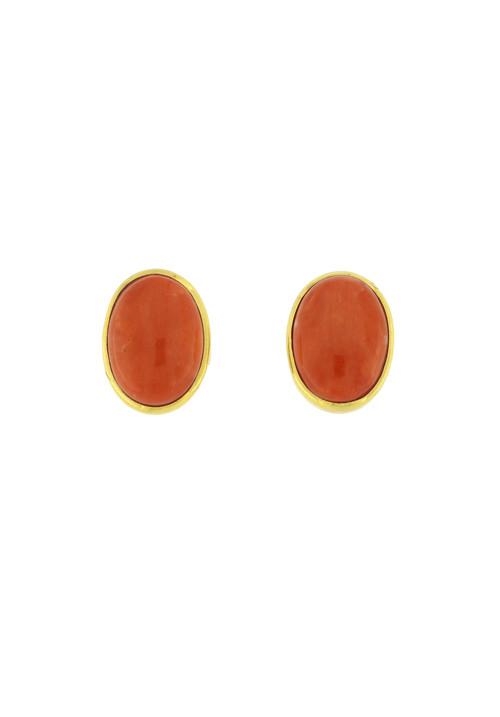 Orecchini corallo rosso e oro 18 kt al lobo