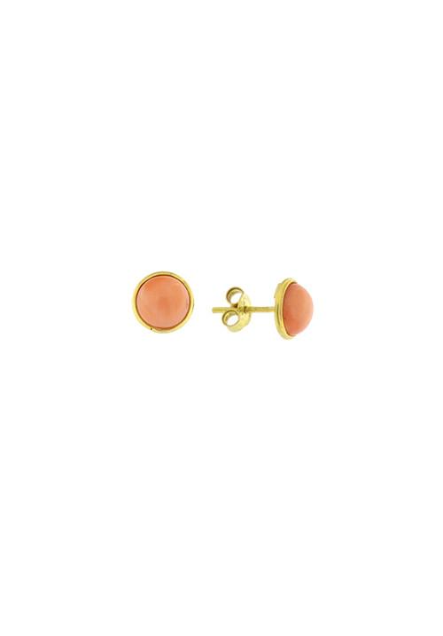 Orecchini corallo rosa bottoncino con oro 18 kt