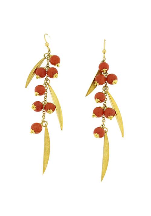 Orecchini corallo rosso e oro 18 kt pendenti