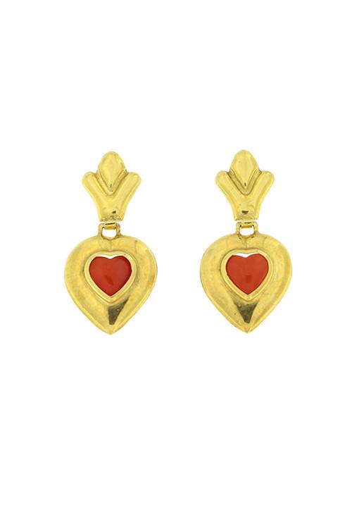 Orecchini corallo rosso e oro 18 kt forma di cuore