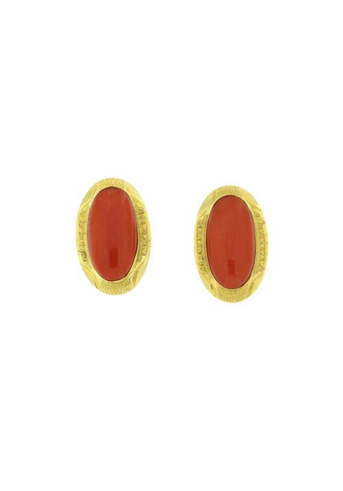 Orecchini corallo rosso e oro 18 kt lavorato