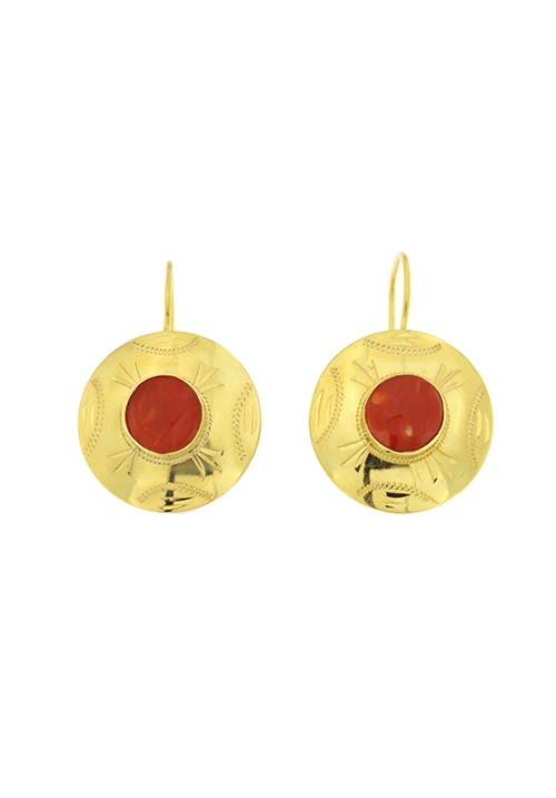 Orecchini pendenti oro 18 kt e corallo naturale rosso