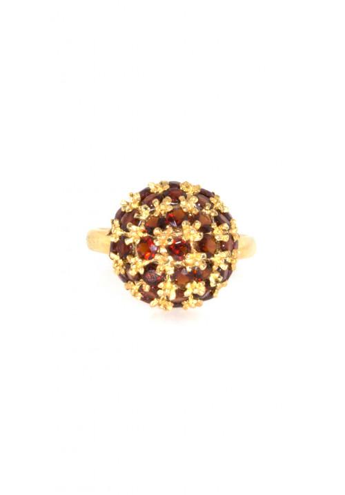 Anello con Granati Naturali in Oro 18 kt - GRAN02ORO