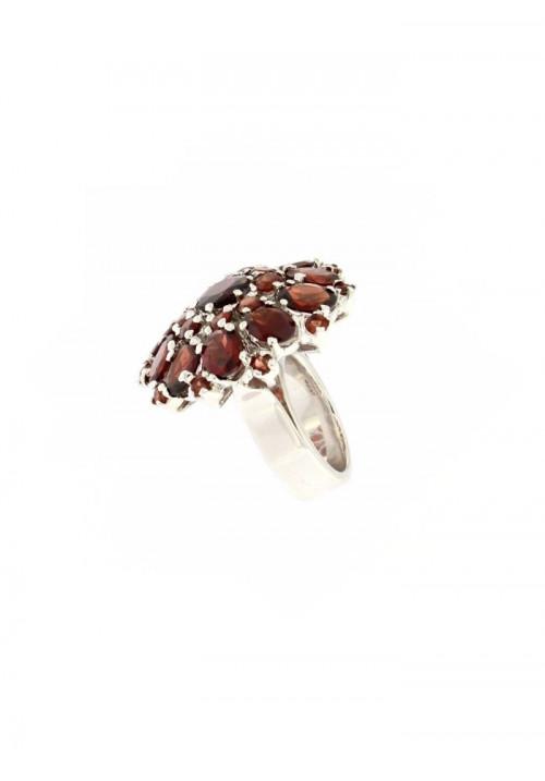 Anello in argento e Granato Naturale - GRAN03ARG