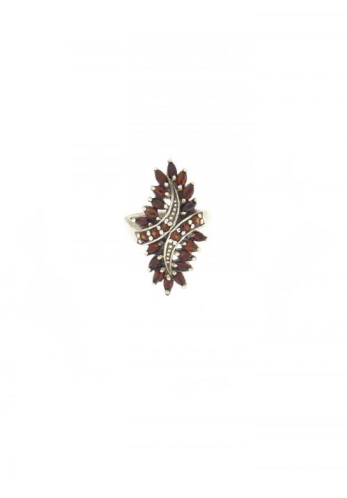 Anello in argento e Granato Naturale - GRAN06ARG