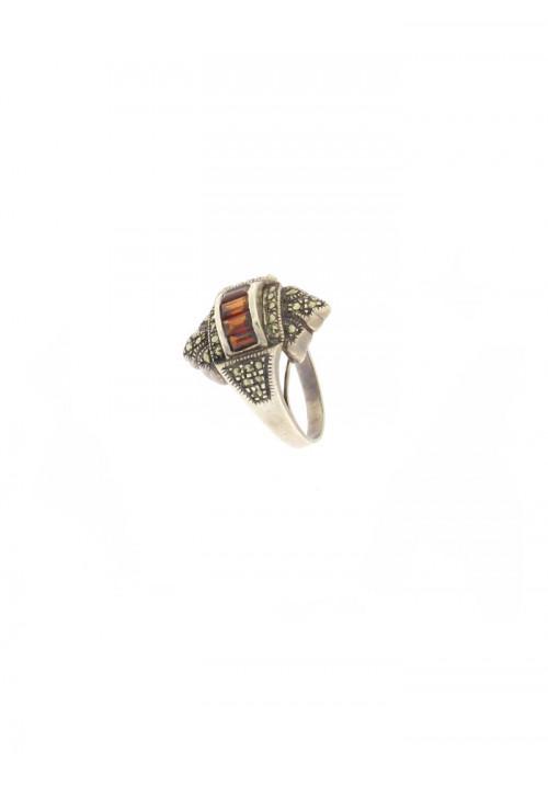 Anello in argento e Granato Naturale con Marcasite - GRAN07ARG