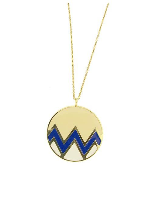 Collana con medaglione Kouture - beige, blu, bianca -