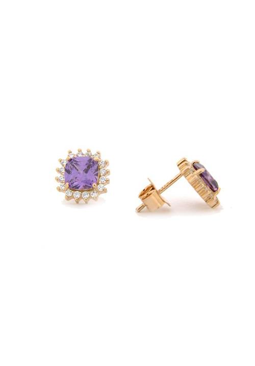 Orecchini in Argento e Zirconi - Oro Rosa - Viola