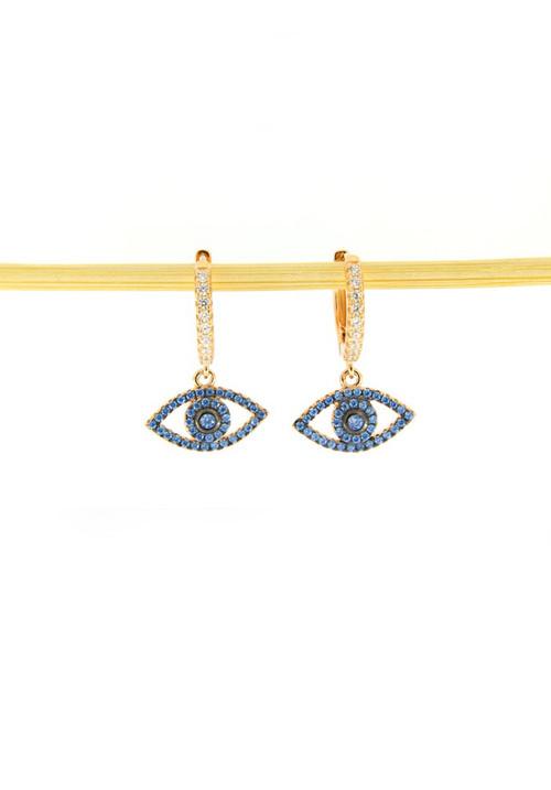Orecchini Cerchietto in Argento e Zirconi - Occhio