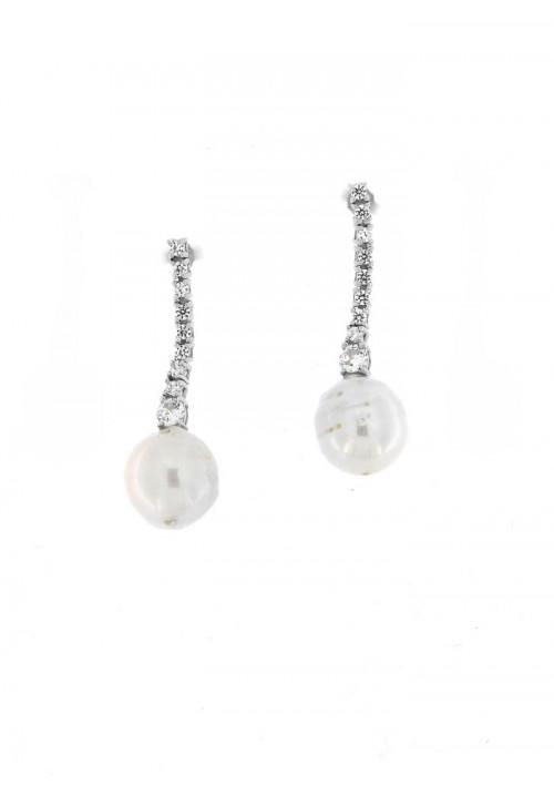 Orecchini Pendenti in Argento con Perle e  zirconi - PLOR10AR