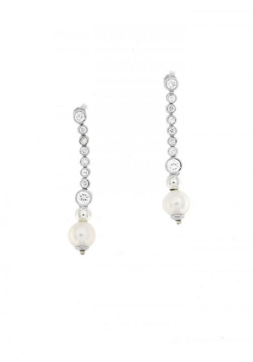 Orecchini Pendenti in Argento con Perle e  zirconi - PLOR14AR