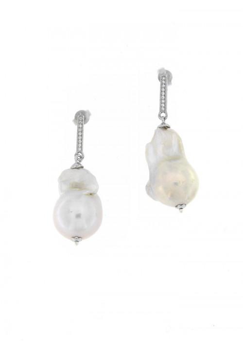 Orecchini Pendenti in Argento con Perle Barocche e Zirconi - PLOR32AR