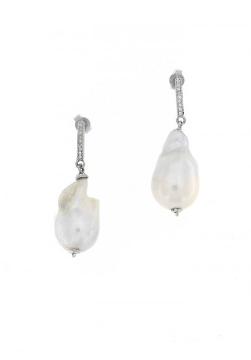 Orecchini Pendenti in Argento con Perle Barocche e Zirconi - PLOR33AR