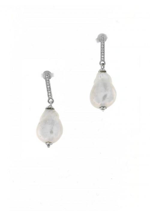 Orecchini Pendenti in Argento con Perle Barocche e Zirconi - PLOR30AR