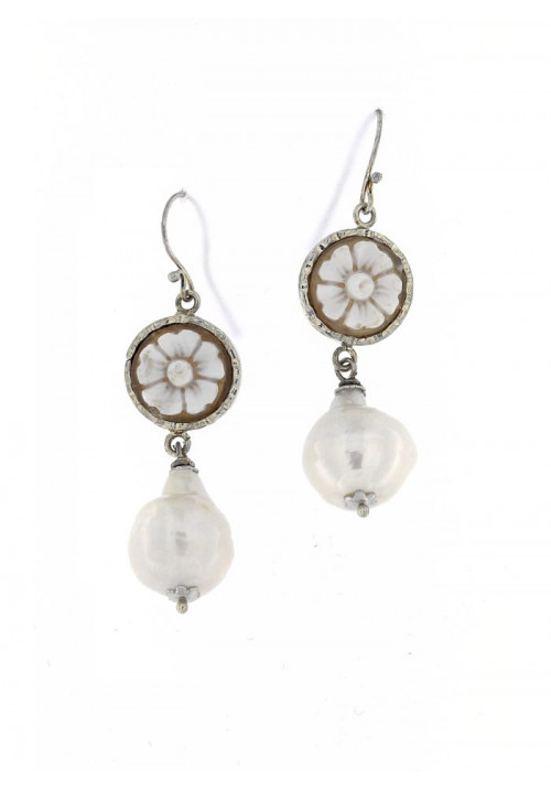 Orecchini Pendenti in Argento con Perle Barocche e Cammeo - PLOR23AR