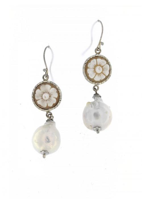 Orecchini Pendenti in Argento con Perle Barocche e Cammeo - PLOR21AR