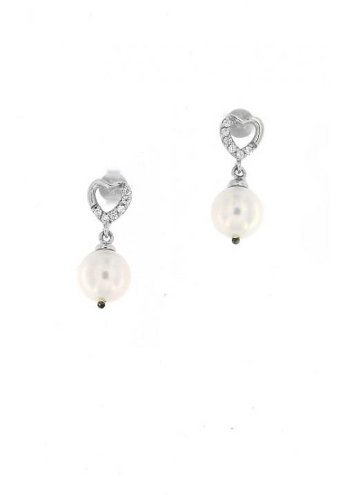 Orecchini pendenti in Argento e Perle con Zirconi - PLOR25AR