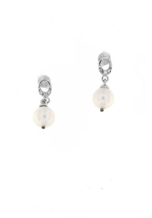 Orecchini pendenti in Argento e Perle con Zirconi - PLOR26AR