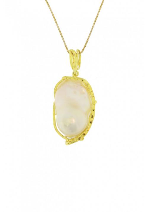 Collana con ciondolo perla barocca in argento 925 dorato - cnuk58