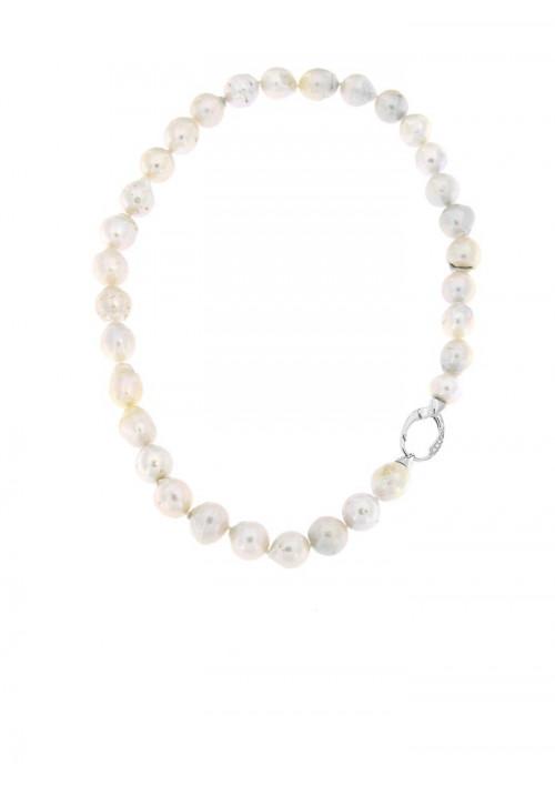 Collana perle barocche di fiume con Chiusura Argento 925 - PLCL04AR