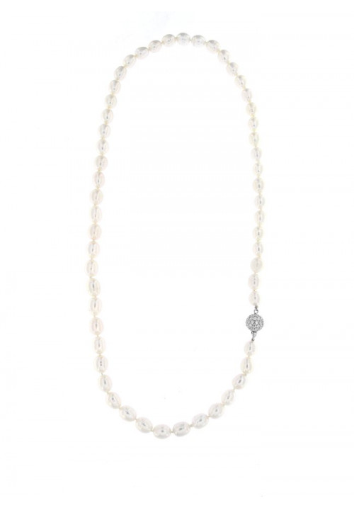 Collana perle di fiume ovali lunga Chiusura Argento - PLCL08AR