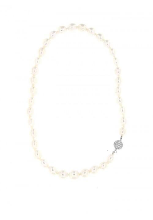 Collana perle di fiume ovali Chiusura Argento - PLCL09AR