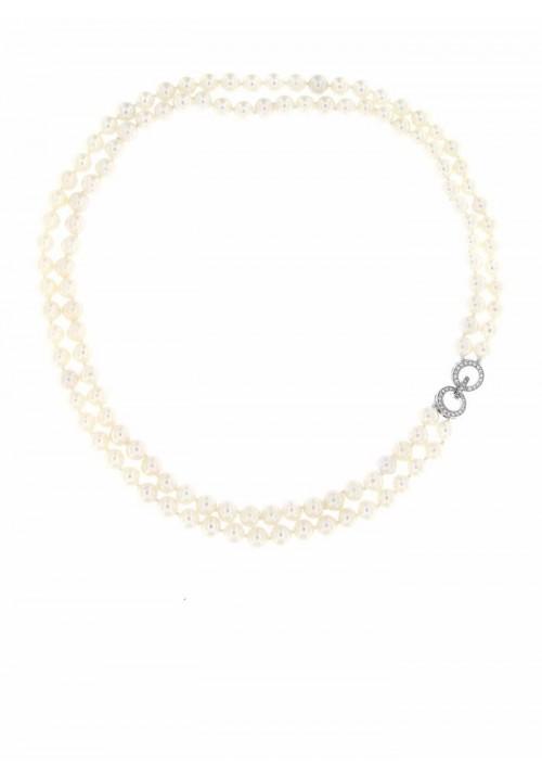 Collana doppio filo perle di fiume con Chiusura Argento 925- PLCL12AR