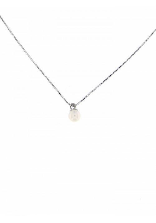 Ciondolo perla di fiume 4 - 4.5 mm con catena in argento - PLCN08AR