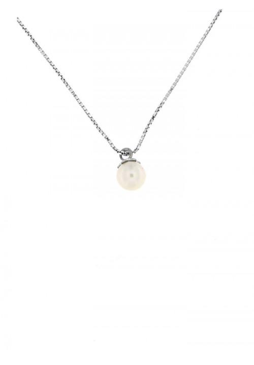 Ciondolo perla di fiume 5 - 5.5 mm con catena in argento - PLCN09AR