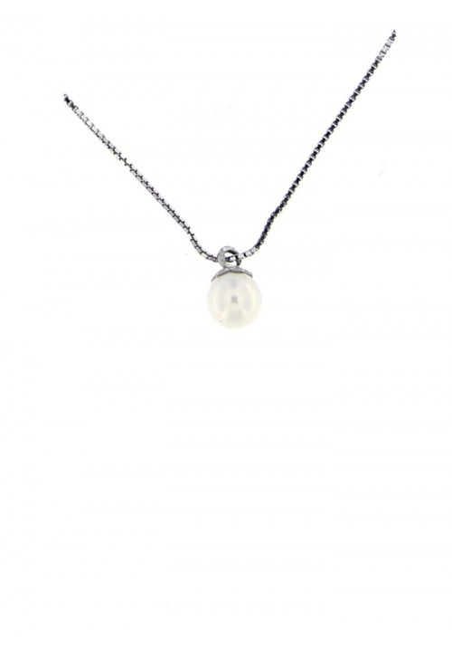 Ciondolo perla di fiume 5.5 - 6 mm con catena in argento - PLCN10AR