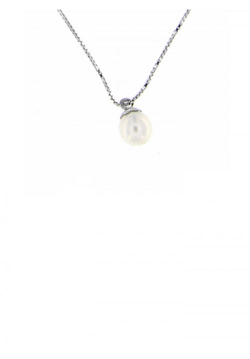 Ciondolo perla di fiume 6  - 6.5 mm con catena in argento - PLCN11AR