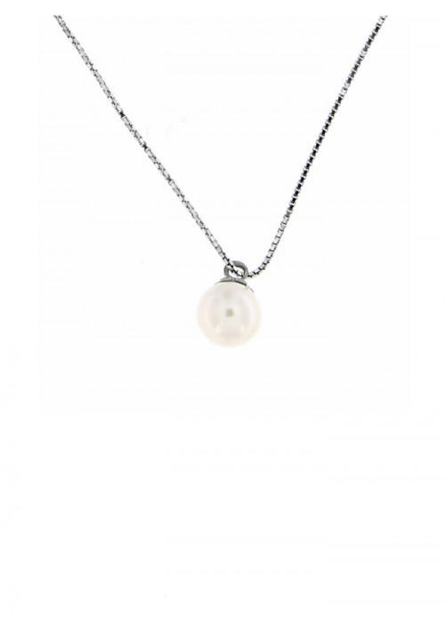 Ciondolo perla di fiume 6.5  - 7 mm con catena in argento - PLCN12AR
