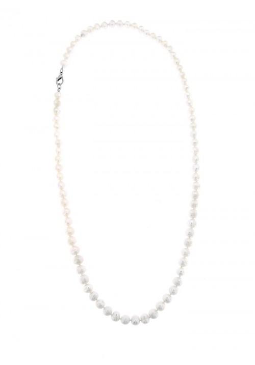 Collana lunga di perle di fiume con Chiusura in metallo anallergico - PLCL01AC