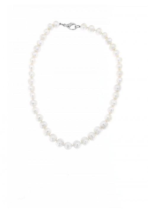 Collana girocollo di perle di fiume con Chiusura in metallo anallergico - PLCL02AC