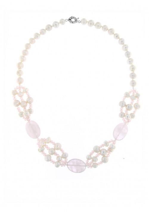 Collana perle di fiume e Quarzi Rosa con Chiusura in metallo anallergico - PLCL03AC