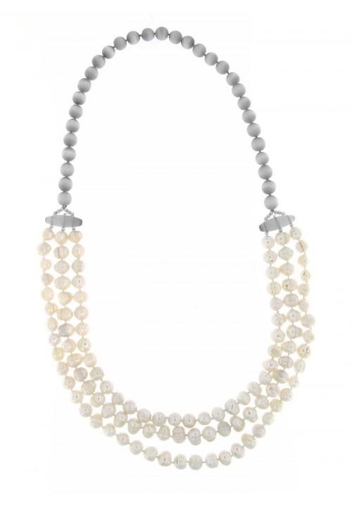 Collana perle di fiume - 3 fili - PLCL04