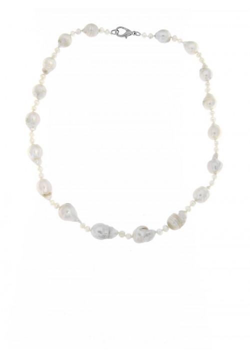 Collana perle di fiume barocche  con Chiusura in metallo anallergico - PLCL05AC