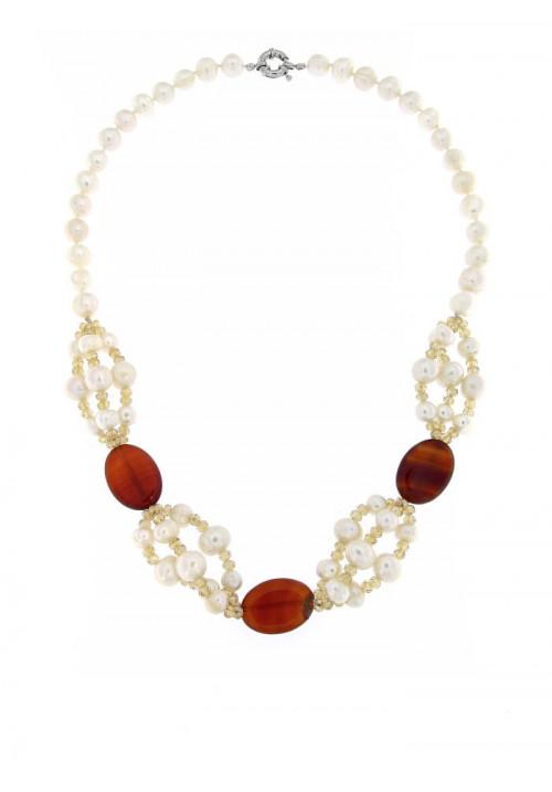 Collana perle di fiume e Agata Corniola  con Chiusura in metallo anallergico - PLCL10AC