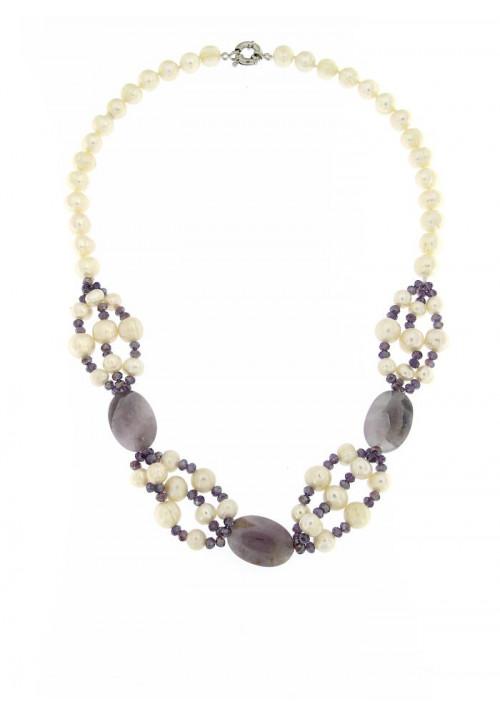 Collana perle di fiume e ametista con Chiusura in metallo anallergico - PLCL11AC