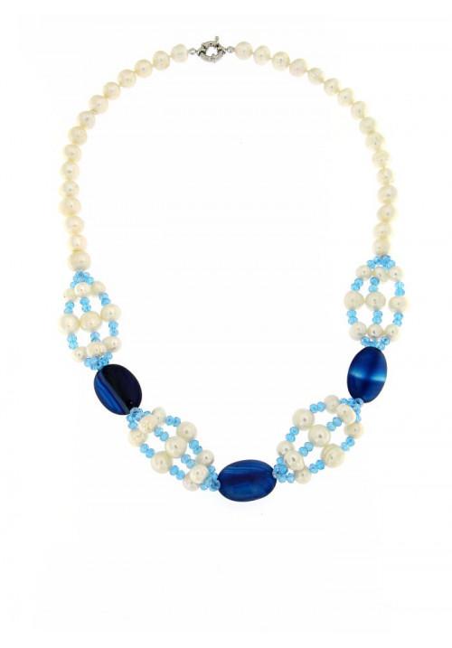 Collana perle di fiume e Agata blu  con Chiusura in metallo anallergico - PLCL12AC