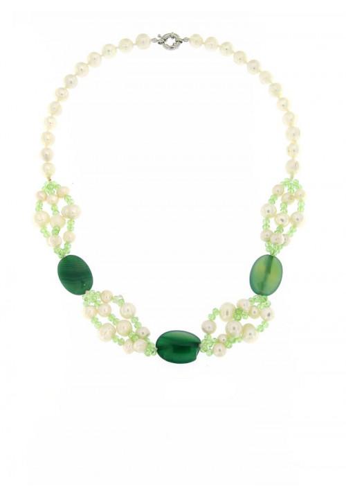 Collana perle di fiume e Agata Verde  con Chiusura in metallo anallergico - PLCL13AC