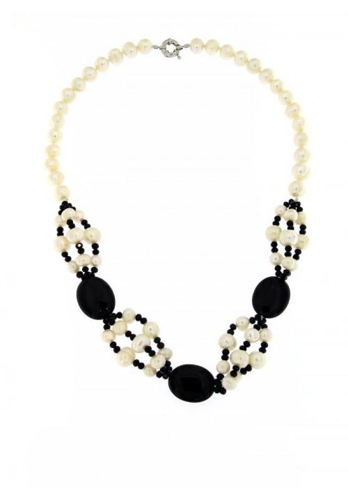 Collana perle di fiume e Onice  con Chiusura in metallo anallergico - PLCL14AC