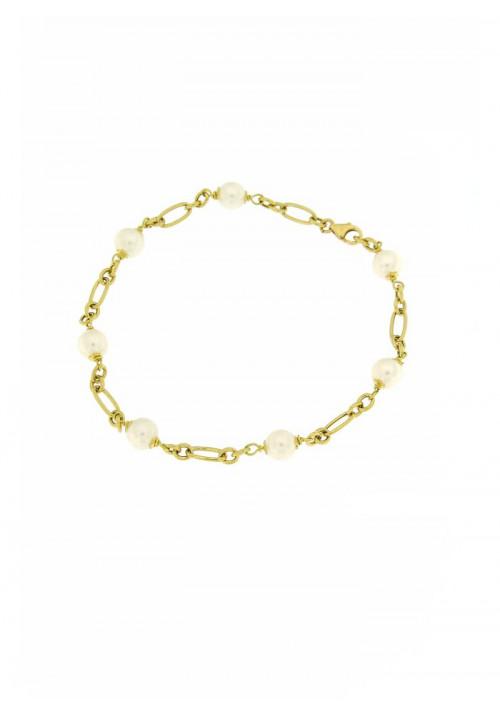 Bracciale in Oro 18 Kt con Perle Acqua Dolce mm 6 - PERBR04ORO