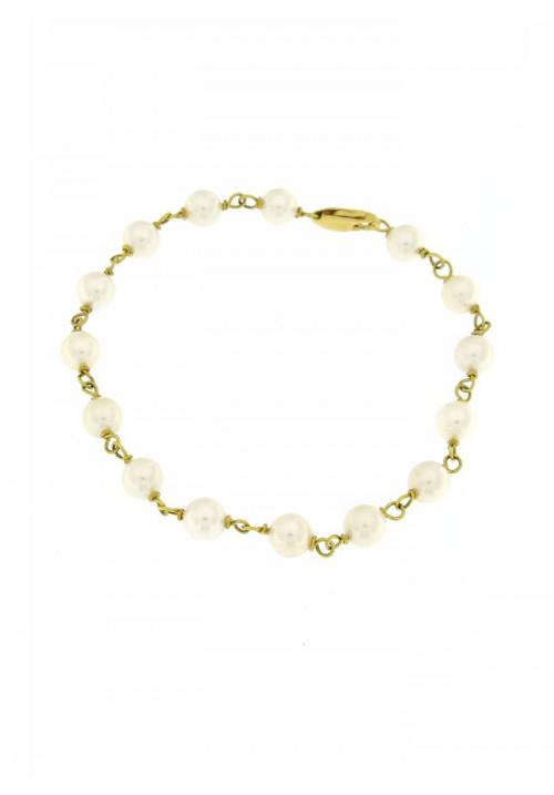 Bracciale in Oro 18 Kt con Perle Giapponesi mm 6.5 - 7 - PERBR09ORO