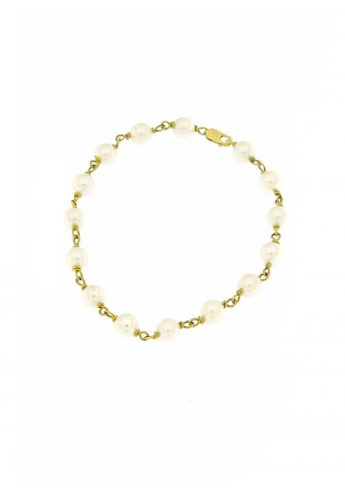 Bracciale in Oro 18 Kt con Perle Giapponesi mm 6 - PERBR10ORO