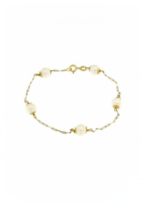 Bracciale in Oro 18 Kt con Perle coltivate mm 6 - PERBR11ORO